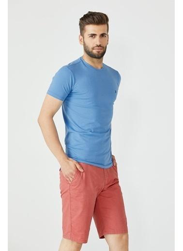 Sementa Erkek Sıfır Yaka Basic Tshirt - Mavi Mavi